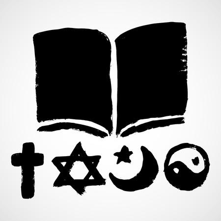 ahimsa: A set of grunge Religious symbols. Black silhouettes isolated on white.