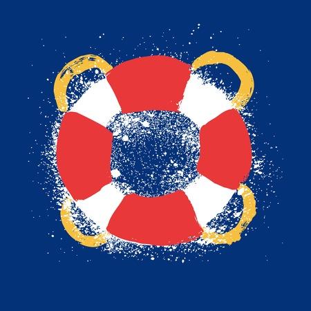 lifebelt: Lifebelt, lifebuoy grunge illustration Illustration
