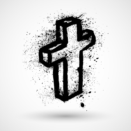 grunge cross: Vector grunge christian cross Illustration
