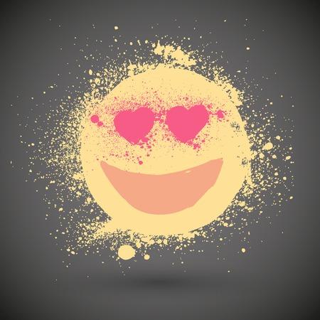 carita feliz caricatura: Smiley Emoticonos vector de la cara - Falling in Love en el estilo grunge Vectores