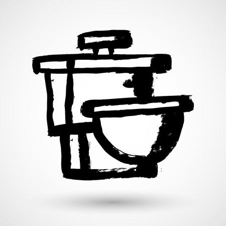 Toilet symbol, grunge vector