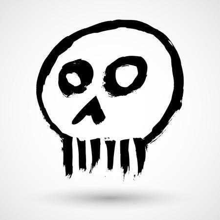 silk screen: Grunge skull