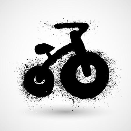 ni�os en bicicleta: Ni�os icono grunge bicicleta Vectores
