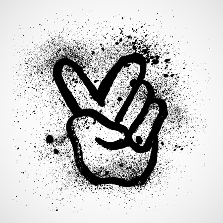 comp: Abstract grunge victory hand sign. vector illustration. Illustration