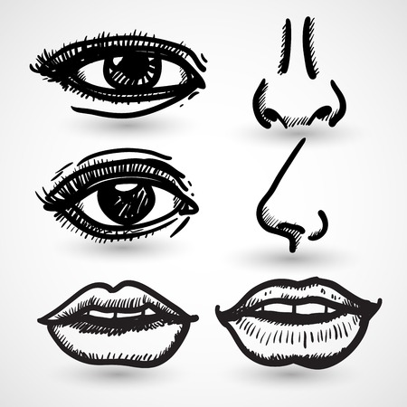 nose: Nose eyes lips doodle collection