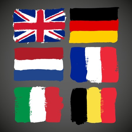 Grunge flags: Great Britain, Italy, France, Germany, Netherlands, Belgium Vector