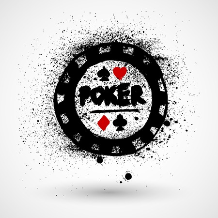 poker chip: Poker chip grunge stamp