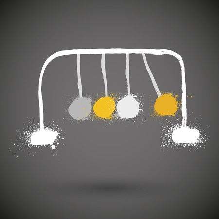 newtons cradle: Small Newtons cradle isolated in grunge style Illustration