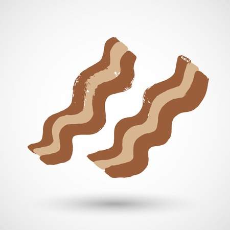 grease: Cooked slices of bacon isolated on white Illustration