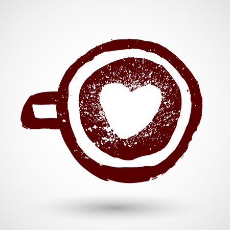 Grunge coffee cup with love symbol Ilustrace