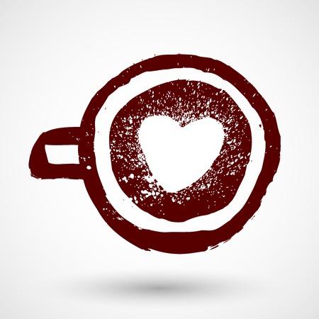Grunge taza de café con el símbolo de amor Foto de archivo - 39504871