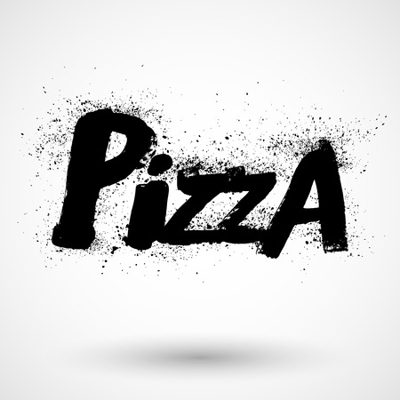 Grunge handdrawn pizza sign Vector