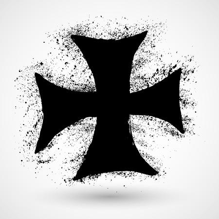 grunge cross: Croce Grunge Vettoriali