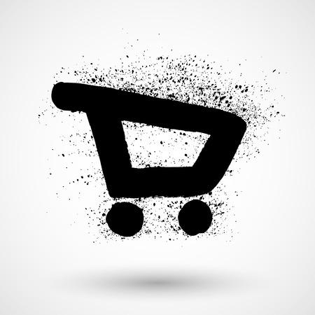supermarket cart: Shopping supermarket cart. Doodle style