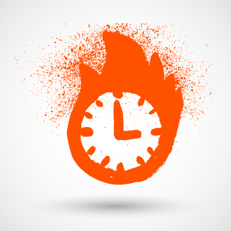 bounds: Colored grunge icon set with image of burning clock, isolated on white