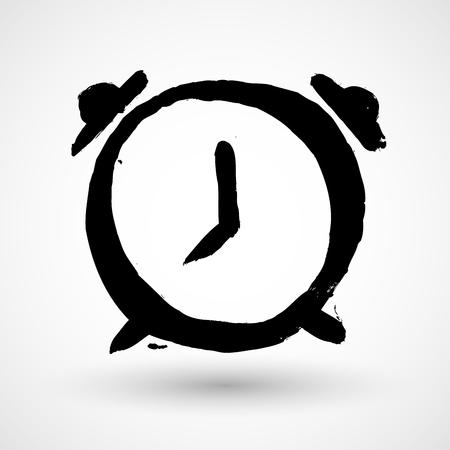 Alarm clock grunge icon Illustration