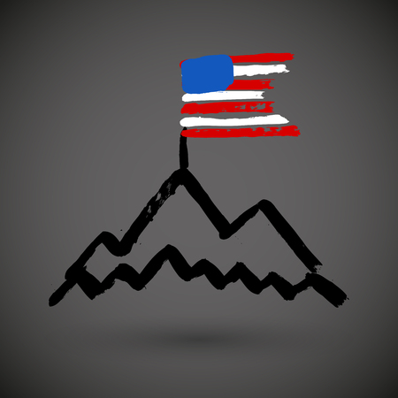 American Flag with Mountains, grunge vector illustration
