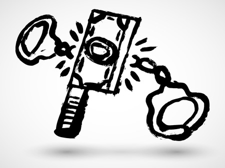 Illustration concept dollar bill brake handcuffs