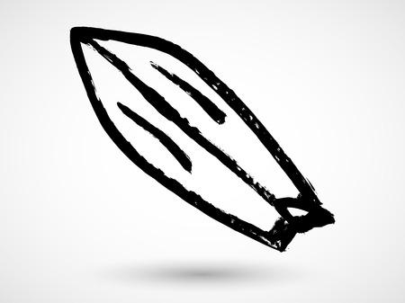 surfboard fin: Blank surfboard. Grunge vector. Illustration