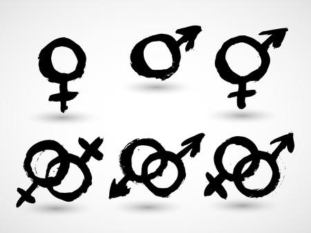 heterosexuality: Male and female symbols combination Illustration