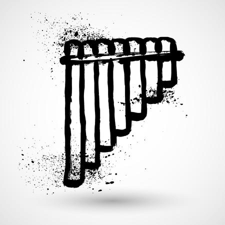 panpipes: Grunge illustration of pan pipes Illustration