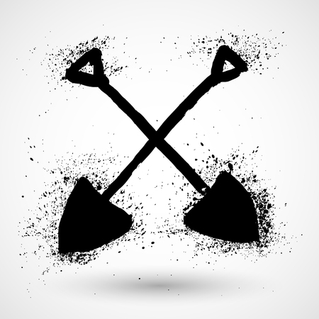 Silhouette of a Crossed Shovels on a Light Background, a Tool for Digging,Black and White Vector Illustration