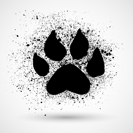 footmark: Paw Print. Grunge Vector illustration Illustration