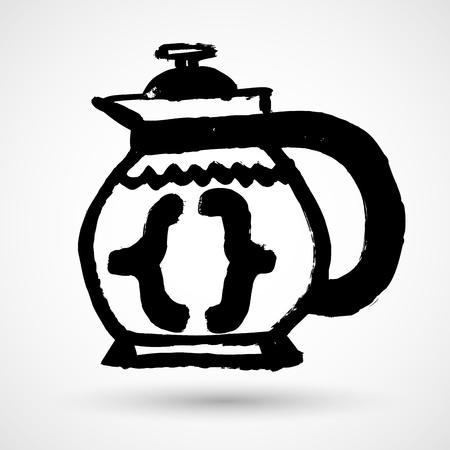 programming code: Coffee with programming symbols icon. Vector illustration
