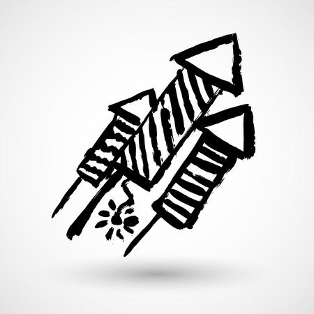 Cartoon firework rocket grunge icon
