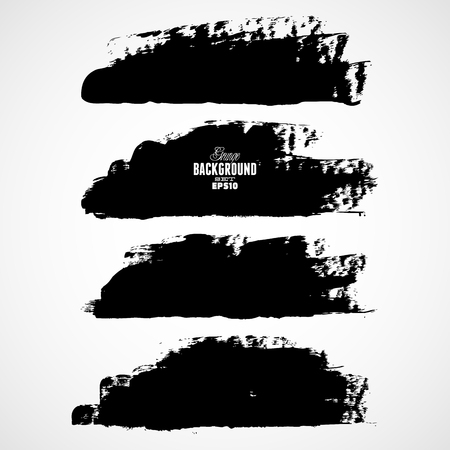 brush painting: Set of three black grunge banners for your design