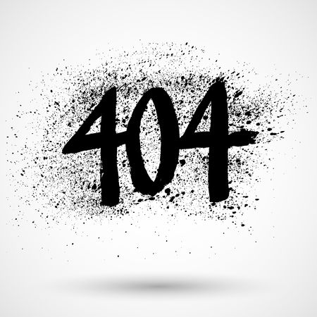 Grunge icon with text 404, isolated on white Çizim