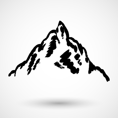 Abstract high mountain grunge icon