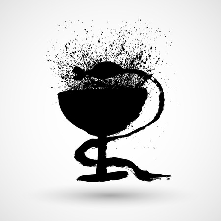 Pharmacy grunge Icon with Caduceus Symbol