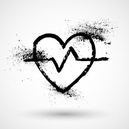electrocardiograma: Icono del ritmo cardíaco del grunge