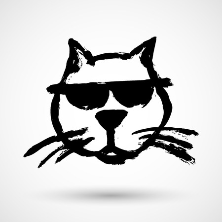 Cat with sunglasses in grunge style.