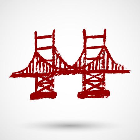 Grunge illustration of San Francisco Golden Gate bridge Illustration