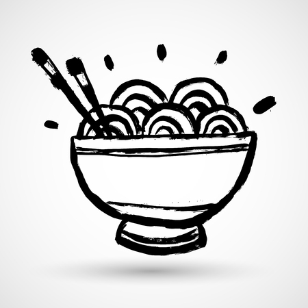 Grunge black bowl icon with chinese noodles