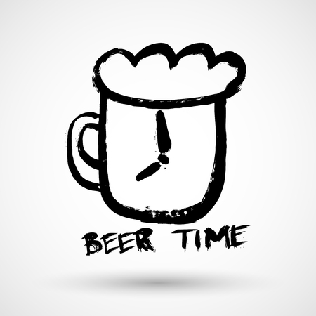 Beer time grunge icon