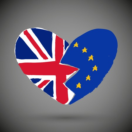 Brexit icon. British flag. EU flag. Broken heart, symbol of imminent exit of Great Britain out of the European Union. Vector illustration, isolated object. Illustration