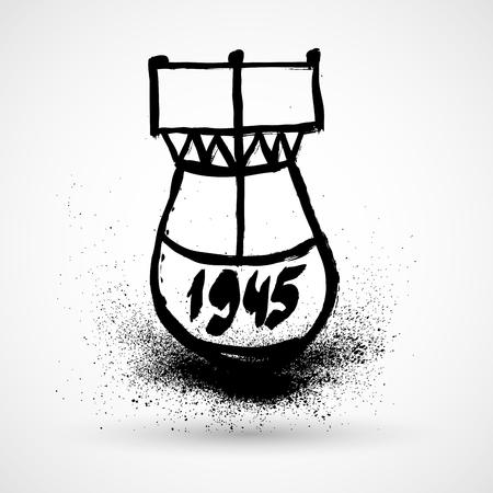 Grunge bomb icon Illustration