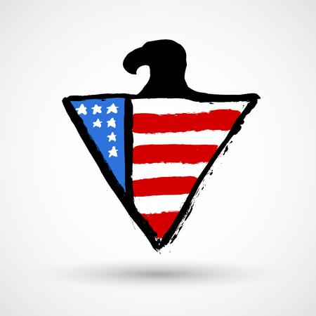 Eagle with USA flag grunge icon Illustration