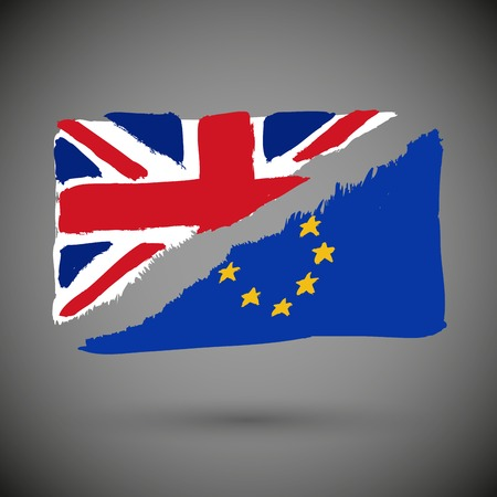 Brexit referendum UK (United Kingdom or Great Britain or England) withdrawal from EU (European Union) Illustration