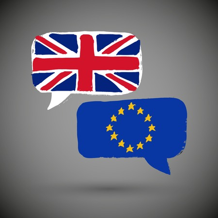 topical: Two message clouds with flags of United Kingdom and European Union respectively. Dialogue between UK and EU. Geopolitics and Brexit concept