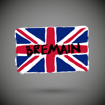 Bremain concept, UK leave from EU and want to remain again. The flag of UK with word remain.