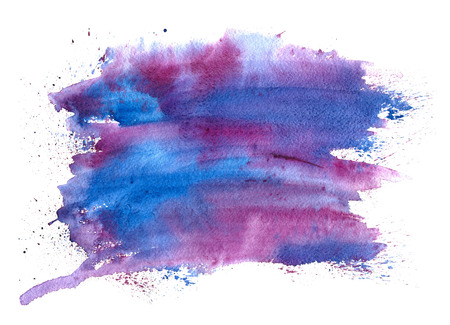 Abstract watercolor spot with droplets, smudges, stains, splashes. Bright color blot in grunge style. To design and decor backgrounds, banners, flyers. Stock Photo