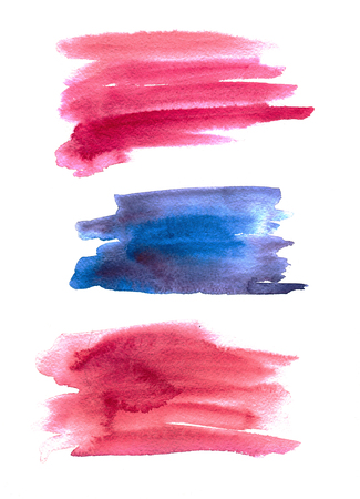 Set of abstract watercolor background with paper texture. Hand drawn watercolor stains on wet paper. Good for invitations, scrapbooking, banners, tags, labels, etc