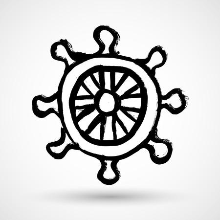 caribbean cruise: Grunge Wheel. Vector symbol