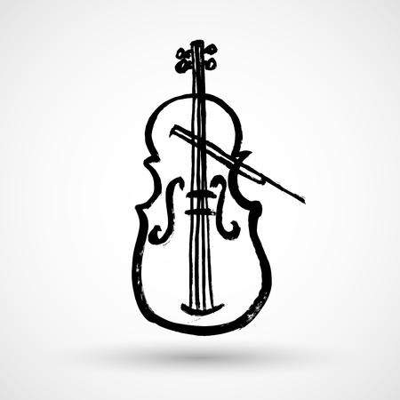 fiddles: Violin Grunge Icon Illustration
