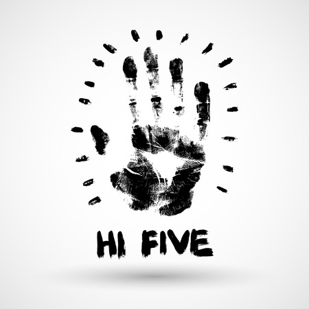 Hi Five grunge illustration.