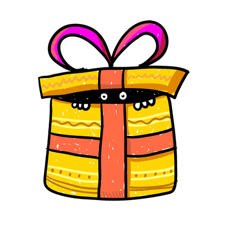 Funny monster in gift box - surprise delivery vector illustration. Yellow present box with orange ribbon bow - something with white eyes inside. Retro cartoon character, cute and funny. Illustration